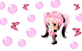 Картинка пузыри, бабочка, аниме, арт, девочка