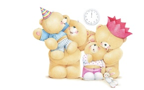 Обои Teddy Bears, настроение, мишки, мама, детская, семья, Forever Friends Deckchair bear, папа, арт, дети, праздник