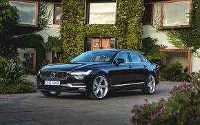 Картинка черный, Volvo, автомобиль, особняк, Black, Inscription, S90