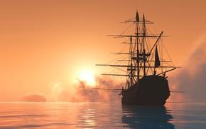 Обои солнце, корабль, 3D Графика, парусник, море, силуэт, рассвет, небо, горизонт, мачты