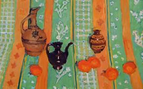 Картинка 2006, чайник, ваза, кувшин, натюрморт, хурма, Петяев