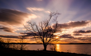 Картинка закат, озеро, Jordan Lake