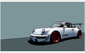 Обои Porsche, Белый, 964, Hoonigan, Авто, Арт, Рисунок, Машина, Porsche 964