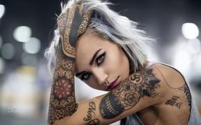 Обои look, dyed, pose, tattoos