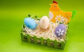 Картинка праздник, яйца, Пасха, гнездо, сено, Курочка