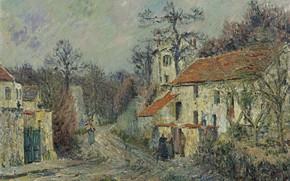 Картинка дома, картина, Гюстав Луазо, Gustave Loiseau, Зимний Пейзаж в Шапонвале