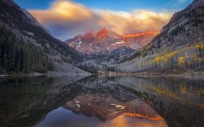 Обои осень, река, горы