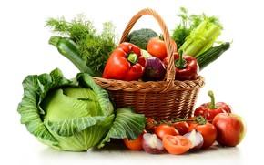 Картинка корзина, лук, укроп, перец, овощи, помидор, капуста, брокколи, цукини