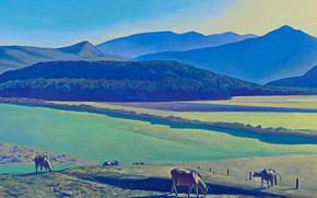 Картинка пейзаж, горы, картина, долина, Rockwell Kent, Рокуэлл Кент, Вид на Асгард