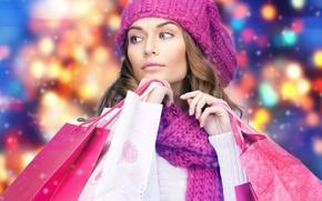 Обои модель, пакеты, шарф, девушка, макияж, волосы, шапка, зима, маникюр, покупки, шопинг