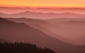Картинка горы, Калифорния, зарево, США, Марипоса