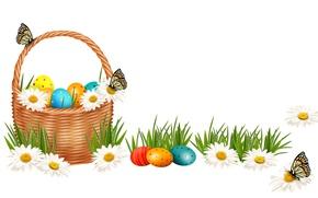 Обои Пасха, Бабочки, Ромашки, Праздники, Корзинка, Яйца