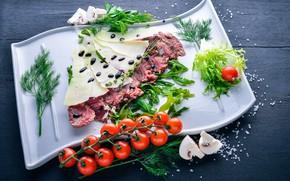 Обои meal, нарезка, соль, veal, italian, сыр, parmesan, зелень, еда, мясо, грибы, sauce, помидоры-черри