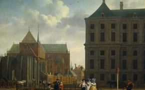 Картинка масло, картина, холст, городской пейзаж, Isaac Ouwater, Недостроенная башня Новой Церкви в Амстердаме