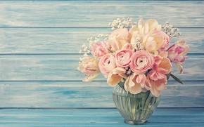 Обои Floral, background, розы, Flower, Ранункулюсы, фон, букет, Цветы