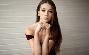 Обои lips, portrait, long hair, looking at camera, strapless, bare shoulders, mouth, green eyes, brunette, girl, ...