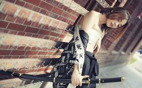 Картинка лицо, стиль, модель, волосы, меч, катана, азиатка