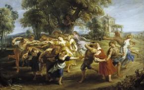 Обои пейзаж, Питер Пауль Рубенс, Pieter Paul Rubens, жанровая, картина, Крестьянский Танец в Италии