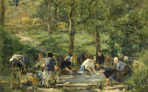 Картинка картина, Эжен Буден, Eugene Boudin, The Laun Place of White Horse at Trouville