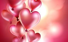 Картинка шарики, фон, сердечки