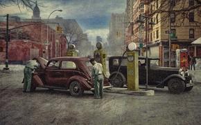 Обои зима, город, ретро, люди, автомобили, автозаправка, 1930
