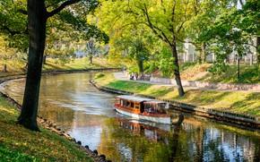 Обои осень, солнце, Латвия, катер, Рига, канал, деревья, Riga, парк