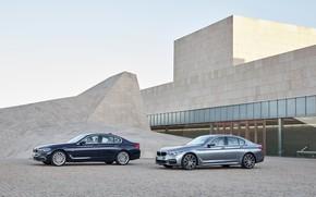 Картинка небо, серый, здание, BMW, архитектура, xDrive, 540i, 530d, Luxury Line, 5er, M Sport, тёмно-синий, 2017, …