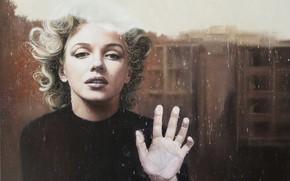 Картинка взгляд, стекло, модель, актриса, блондинка, Мэрилин Монро, Marilyn Monroe