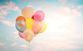 Картинка лето, небо, солнце, счастье, воздушные шары, colorful, summer, sunshine, happy, balloon