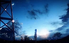 Обои небо, птица, Y_Y, девушка, ночь, дерево, луна, город