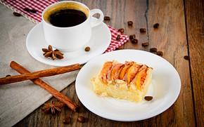 Картинка кофе, еда, пирог, корица, выпечка, анис, яблочный