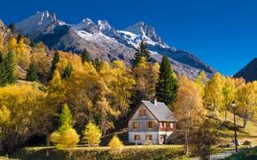 Картинка деревья, горы, фото, Франция, домик