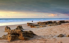 Картинка песок, море, волны, пляж, лето, небо, камни, скалы, берег, summer, beach, sky, sea, blue, seascape, …