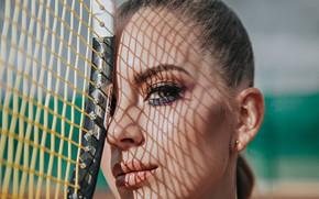 Картинка взгляд, лицо, портрет, макияж, ракетка, теннис, Антон Харисов
