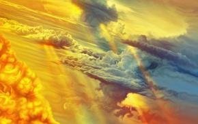 Картинка небо, облака, закат, by exobiology