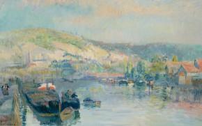 Картинка пейзаж, река, картина, Альбер-Шарль Лебур, Albert Lebourg, Парусная Лодка на Берегу Сены около Руана
