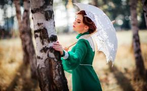 Обои девушка, деревья, поза, стиль, ретро, зонтик, настроение, платье, берёзы, Александра, Ольга Бойко