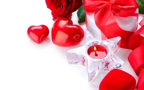 Картинка цветок, огонь, подарок, звезда, роза, свеча, сердечки, белый фон, красная, День святого Валентина, ленточка