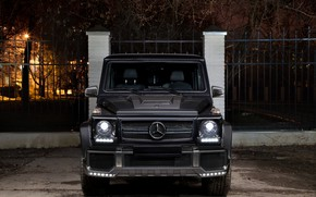 Обои Brick, G63, Front, Black, AMG, Mercedes