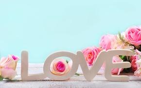 Обои heart, love, roses, pastel, pink, romantic, розы, сердечки, petals, розовые розы, flowers