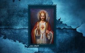 Картинка texture, blue, crown, jesus christ, king, latin, rex, christianity, Jesu Christo