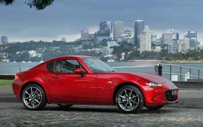 Картинка красный, город, небоскребы, Mazda, автомобиль, MX-5