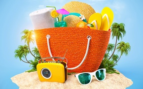 Картинка лето, солнце, тропики, рисунок, шляпа, камера, очки, коктейль, сумка, hat, bag, Tropics