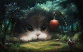 Картинка girl, fantasy, game, forest, eyes, Cat, clear, animal, ball, digital art, artwork, situation, fantasy art, …
