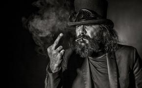 Обои фон, портрет, мужик, очки, сигарета, борода, жест, средний палец, цилиндр