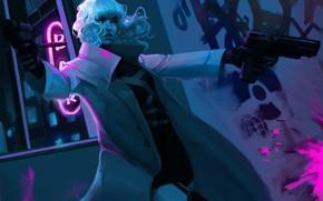 Картинка Charlize Theron, волосы, пистолеты, вечер, блондинка, переулок, Lorraine Broughton, Atomic Blonde