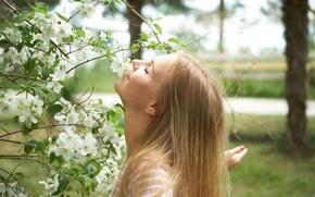 Картинка лето, лицо, дерево, волосы, Маша
