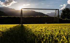 Картинка поле, свет, футбол, ворота