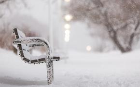 Картинка зима, снег, улица, скамья