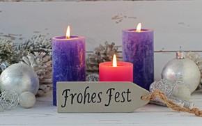 Картинка праздник, новый год, свечи, шишки, декор